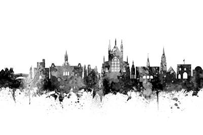 Digital Art - Winchester England Skyline by Michael Tompsett