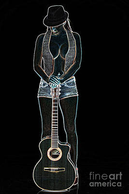 Photograph - 414.1855 Guitar Model Drawings by M K Miller