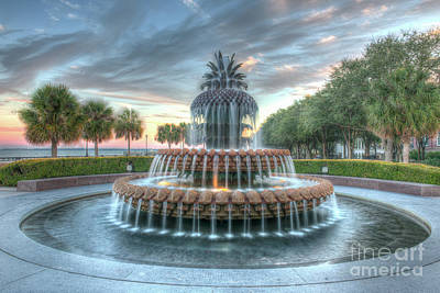 Photograph - Pineapple Fountain Sunset - Charleston Sc by Dale Powell