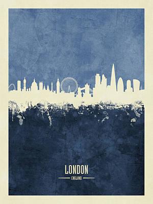 London Skyline Wall Art - Digital Art - London England Skyline by Michael Tompsett
