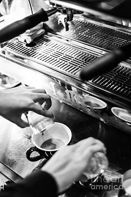 Katharine Hepburn - Making Espresso Coffee Close Up Detail With Modern Machine by JM Travel Photography