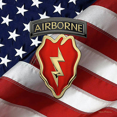 Digital Art - 4th Brigade Combat Team 25th Infantry Division Airborne - 4th  I B C T  Insignia Over American Flag by Serge Averbukh