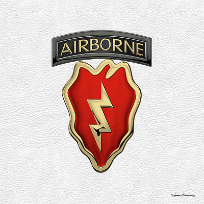 Digital Art - 4th Brigade Combat Team 25th Infantry Division Airborne - 4th  I B C T  Insignia Over White Leather by Serge Averbukh