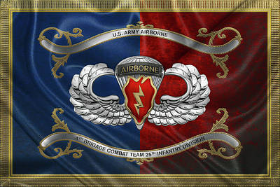 Digital Art - 4th Brigade Combat Team 25th Infantry Division Airborne Insignia With Parachutist Badge Over Flag by Serge Averbukh
