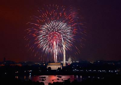 Priska Wettstein Pink Hues - 4th July Fireworks Over Washington L B  by Gert J Rheeders