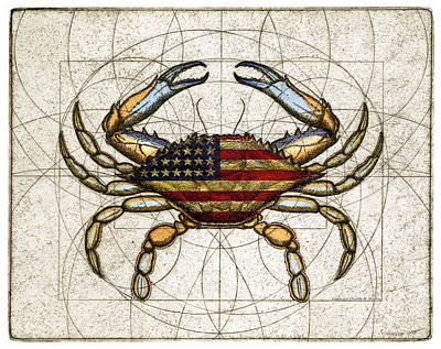 Mixed Media Royalty Free Images - 4th of July Crab Royalty-Free Image by Charles Harden