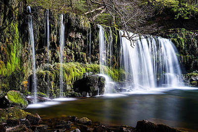 Landscapes Royalty-Free and Rights-Managed Images - A beautiful waterfall in Brecon beacons national park in Wales. by George Afostovremea