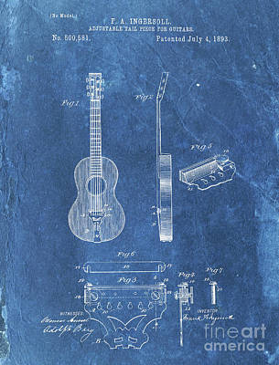 Jazz Drawings Royalty Free Images - ADJUSTABLE TAIL PIECE FOR GUITARS Patent Year 1893 Royalty-Free Image by Drawspots Illustrations