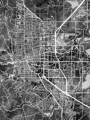 Digital Art - Boulder Colorado City Map by Michael Tompsett