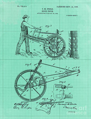 Royalty-Free and Rights-Managed Images - Brick Truck Patent Year 1905 Vintage Art Print by Drawspots Illustrations
