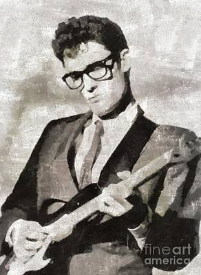Music Paintings - Buddy Holly, Music Legend by Esoterica Art Agency