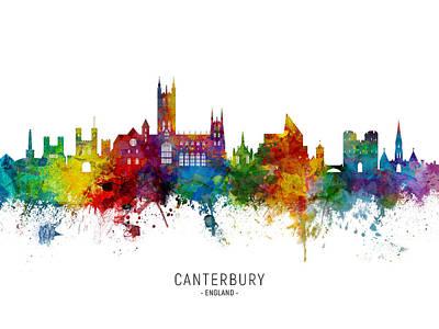 Digital Art - Canterbury England Skyline by Michael Tompsett