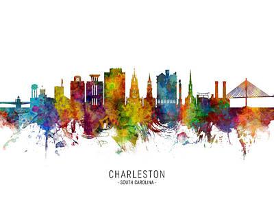 Digital Art - Charleston South Carolina Skyline by Michael Tompsett