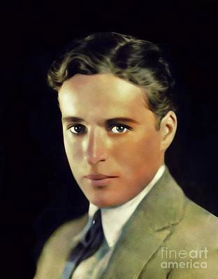 Digital Art Rights Managed Images - Charlie Chaplin, Vintage Movie Legend Royalty-Free Image by John Springfield