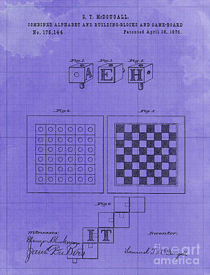 Royalty-Free and Rights-Managed Images - Combined Alphabet and Building Blocks and Game Board Patent Year 1876 by Drawspots Illustrations