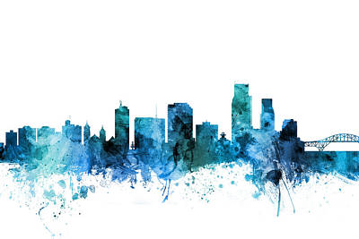 Digital Art - Corpus Christie Texas Skyline by Michael Tompsett