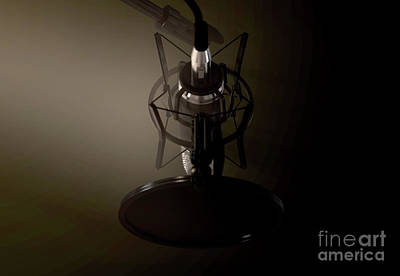 Digital Art Rights Managed Images - Dramatic Condenser Microphone Royalty-Free Image by Allan Swart