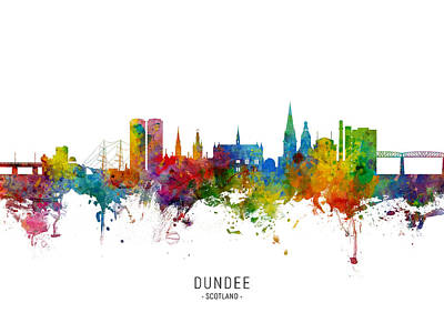 Digital Art - Dundee Scotland Skyline by Michael Tompsett