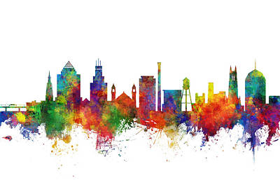 Digital Art - Durham North Carolina Skyline by Michael Tompsett
