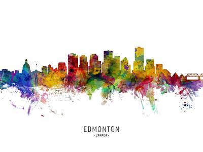 Digital Art - Edmonton Canada Skyline by Michael Tompsett