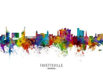 Digital Art - Fayetteville Arkansas Skyline by Michael Tompsett