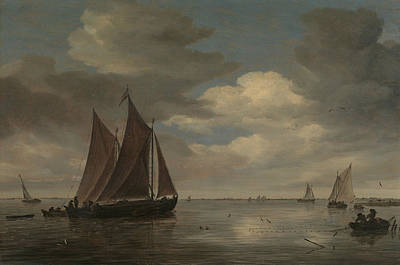Painting - Fishing Boats On A River by Salomon van Ruysdael