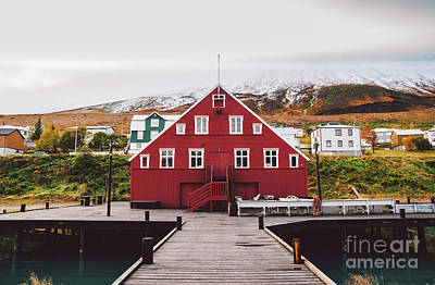 Typographic World Royalty Free Images - Fishing village on the east coast of Iceland Royalty-Free Image by Joaquin Corbalan