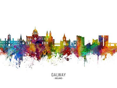 Digital Art - Galway Ireland Skyline by Michael Tompsett