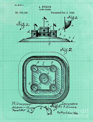Royalty-Free and Rights-Managed Images - Game Board Castle Patent Year 1896 Vintage Game by Drawspots Illustrations