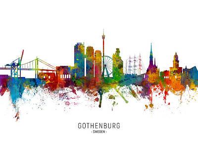 Digital Art - Gothenburg Sweden Skyline by Michael Tompsett