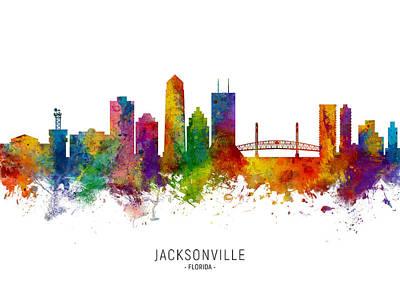 Digital Art - Jacksonville Florida Skyline by Michael Tompsett