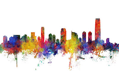 Digital Art - Jersey City New Jersey Skyline by Michael Tompsett