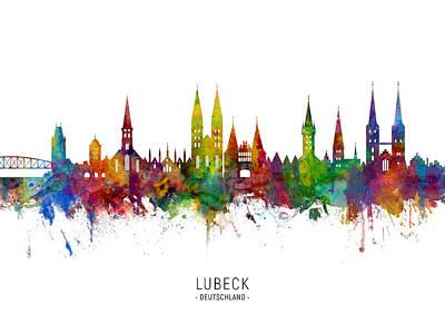 Digital Art - Lubeck Germany Skyline by Michael Tompsett