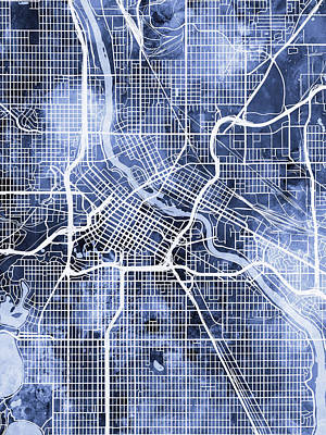 Digital Art - Minneapolis Minnesota City Map by Michael Tompsett