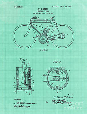 Royalty-Free and Rights-Managed Images - Motor Cycle Patent Year 1906 Old Artwork Motorcycle art by Drawspots Illustrations