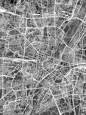 Digital Art - Munich Germany City Map by Michael Tompsett