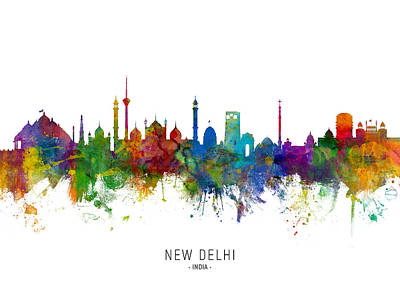 Digital Art - New Delhi India Skyline by Michael Tompsett
