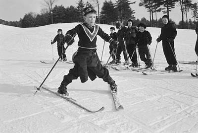 Photograph - New England Skiing by Slim Aarons