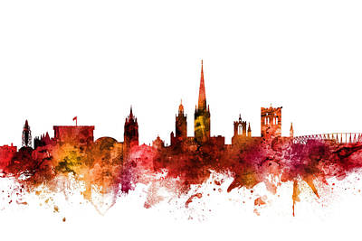 Digital Art - Norwich England Skyline by Michael Tompsett