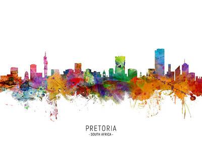 Digital Art - Pretoria South Africa Skyline by Michael Tompsett