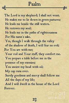Painting - Psalm 23-bible Verse Wall Art Collection by Mark Lawrence