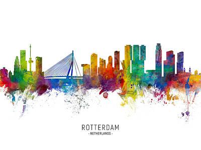 Digital Art - Rotterdam The Netherlands Skyline by Michael Tompsett