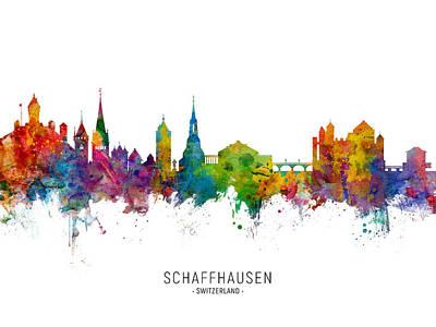 Digital Art - Schaffhausen Switzerland Skyline by Michael Tompsett