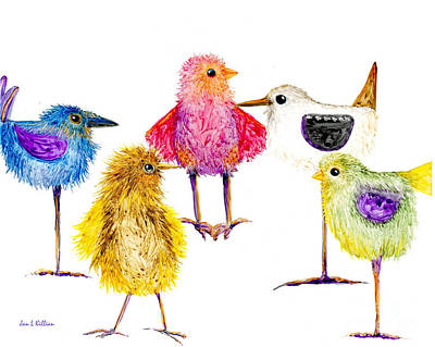 Painting - 5 Silly Birds by Jan Killian