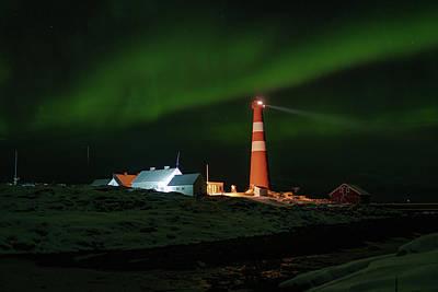 Photograph - Slettnes Lighthouse Under Aurora 5 by Arctic FineArt