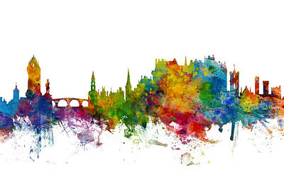 Digital Art - Stirling Scotland Skyline by Michael Tompsett