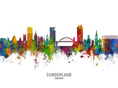 Digital Art - Sunderland England Skyline by Michael Tompsett