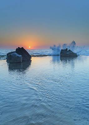 Photograph - Sunrise Seascape, Splash And Rocks by Merrillie Redden