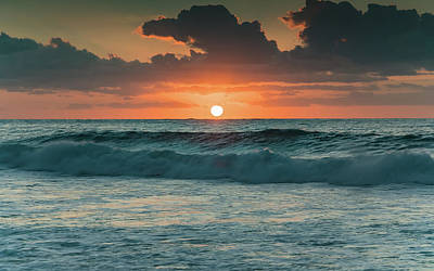 Photograph - Sunrise Seascape With Waves by Merrillie Redden