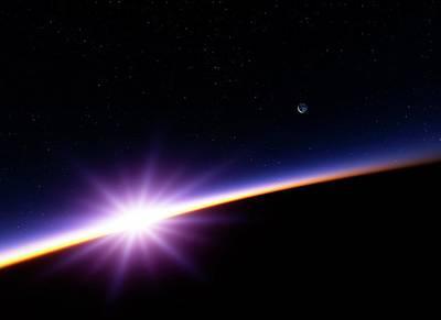Digital Art - Sunset In Earth Orbit, Artwork by Detlev Van Ravenswaay